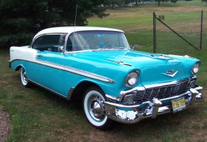 1956 Chevrolet Bel Air blue white ma 300x206 Way Back Wednesday: The Chevy Bel Airs Golden Years