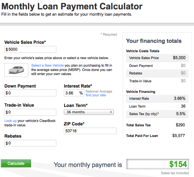 Car loan or payment cash calculator monthly